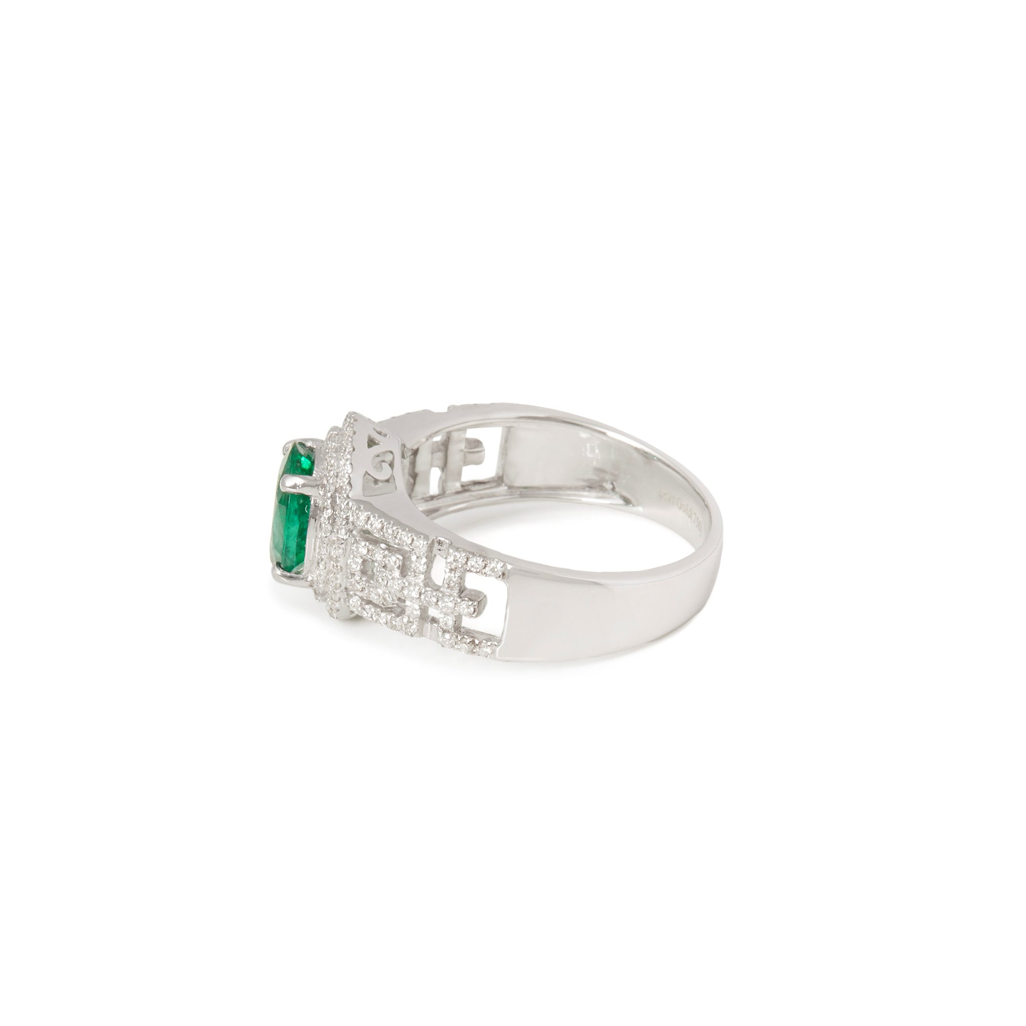 David Jerome Certified 1.23ct Untreated Zambian Oval Cut Emerald and Diamond 18ct gold Ring