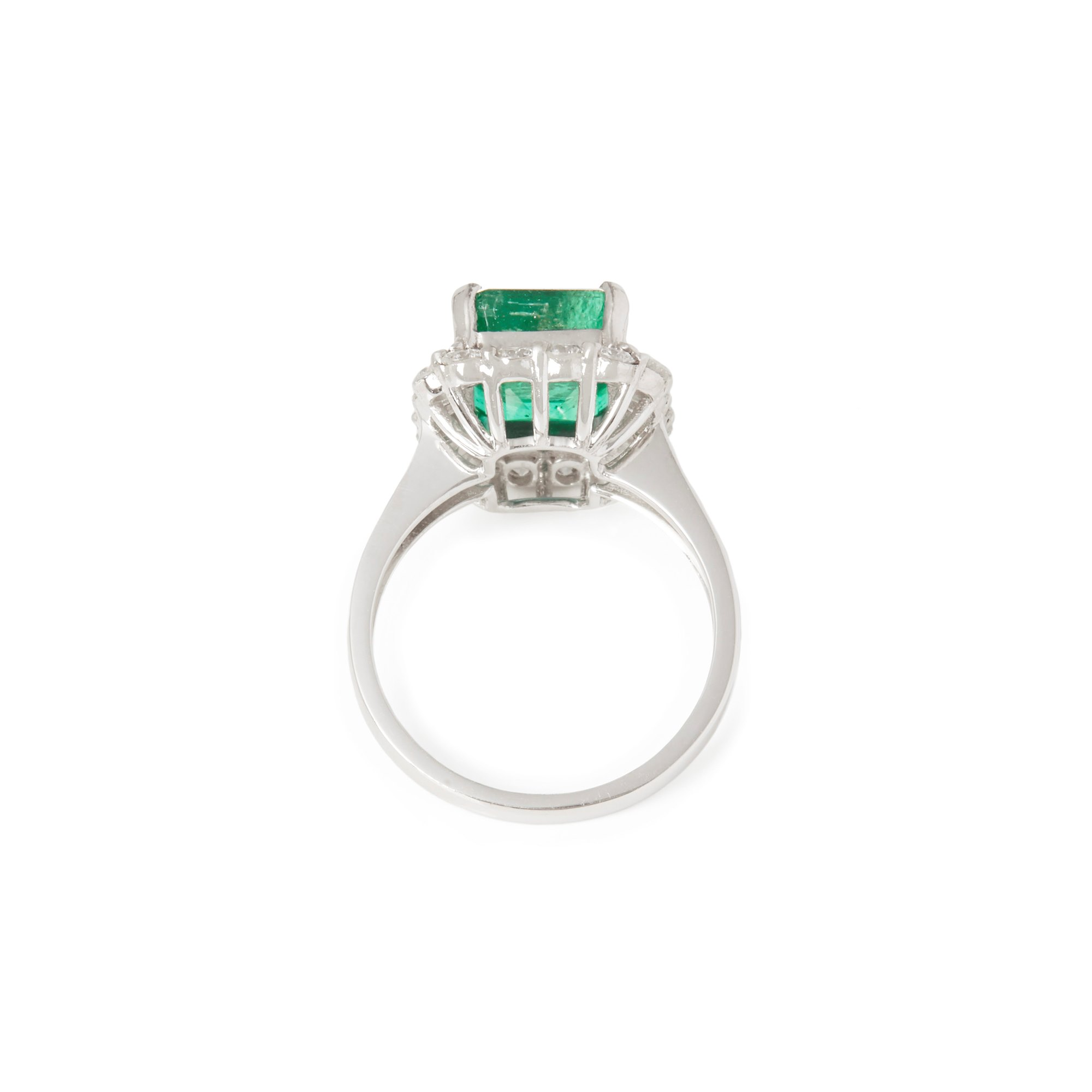 David Jerome Certified 4.58ct Columbian Emerald Cut Emerald and Diamond 18ct gold Ring