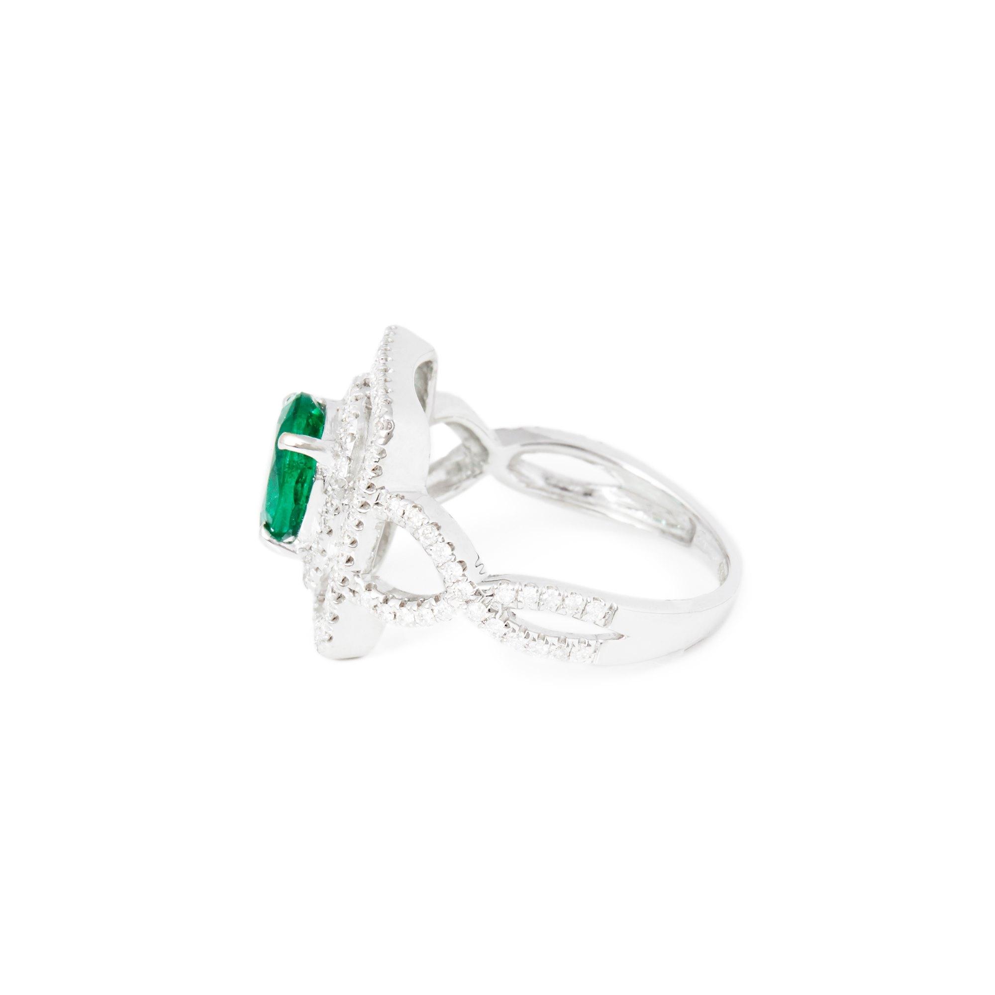 David Jerome Certified 1.58ct Untreated Zambian Oval Cut Emerald and Diamond 18ct gold Ring