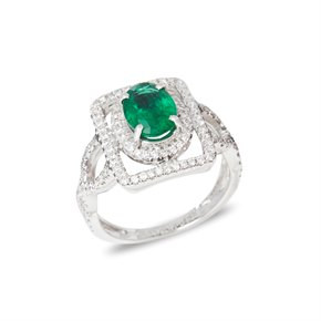 David Jerome Certified 1.58ct Untreated Zambian Oval Cut Emerald and Diamond 18ct gold Ring