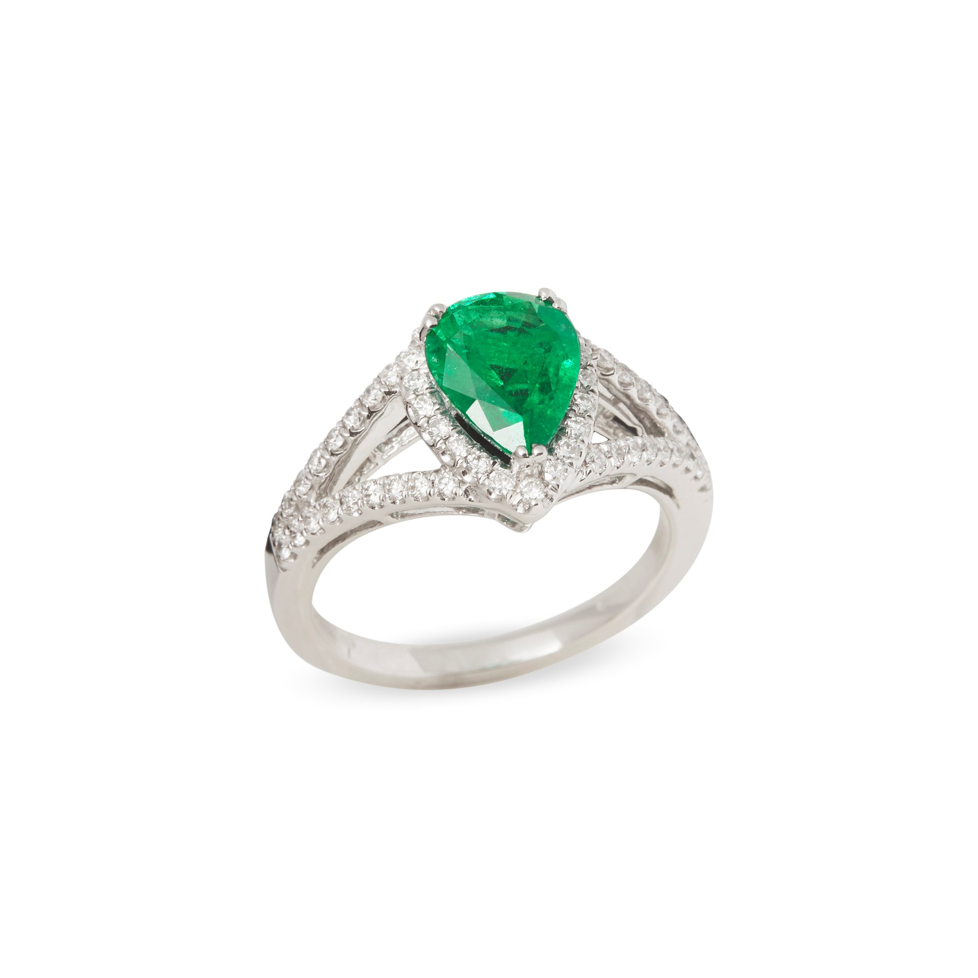 David Jerome Certified 1.57ct Untreated Columbian Pear Cut Emerald and Diamond Ring
