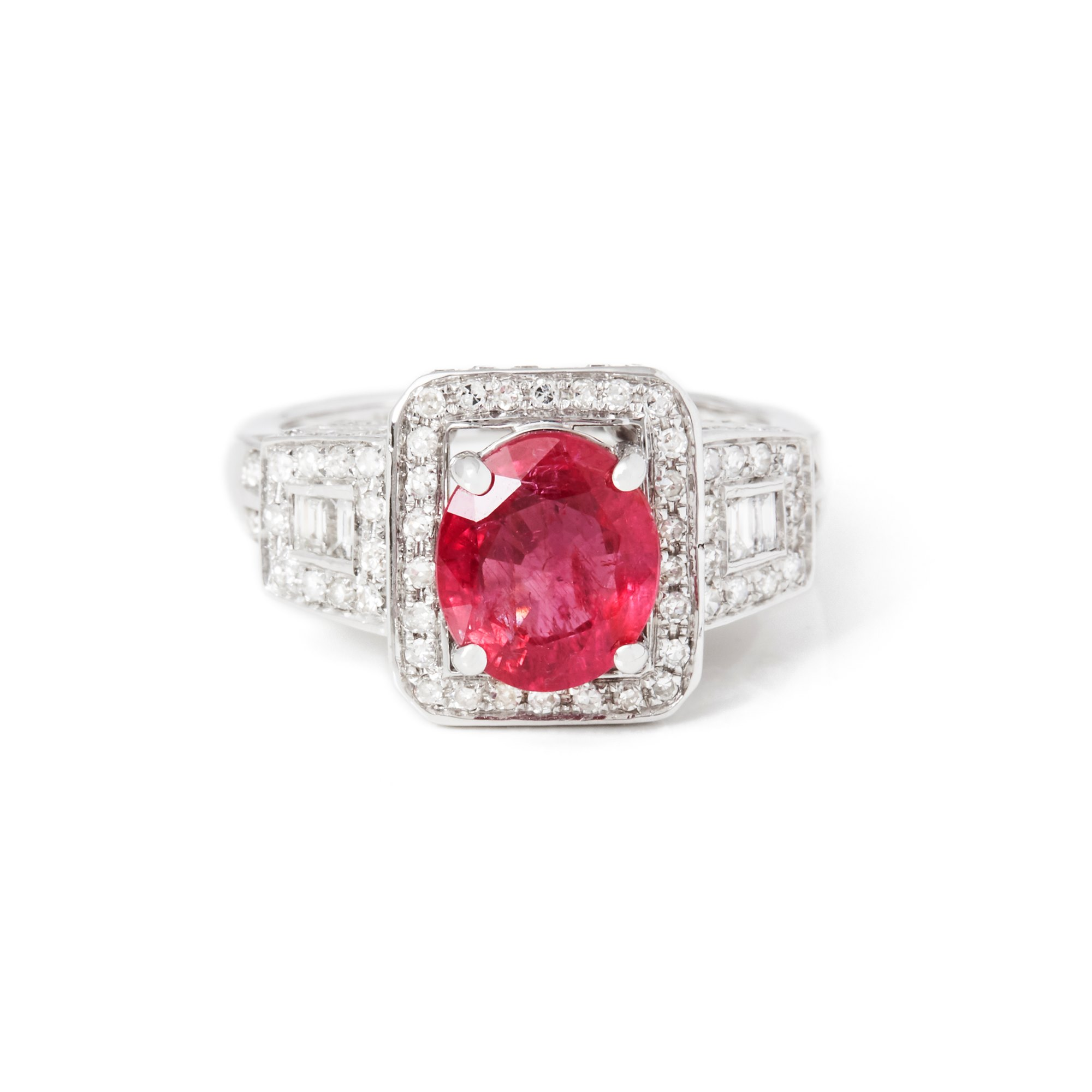 David Jerome Certified 2.37ct Unheated Untreated Oval Cut Ruby and Diamond 18ct gold Ring
