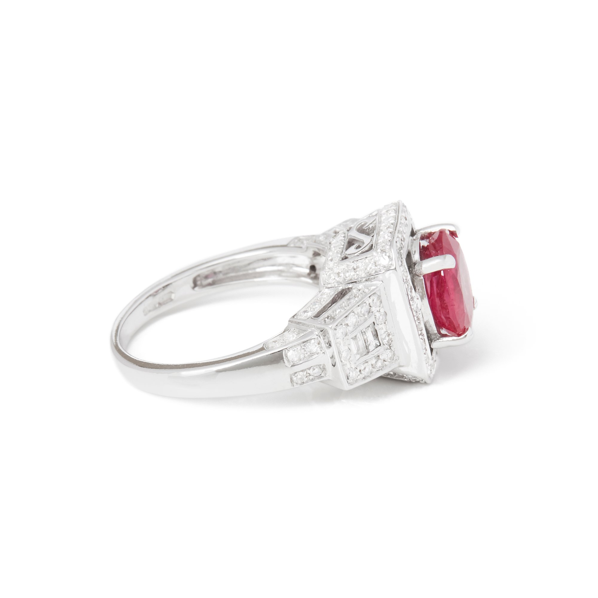 David Jerome Certified 2.38ct Untreated Oval Cut Ruby and Diamond Ring
