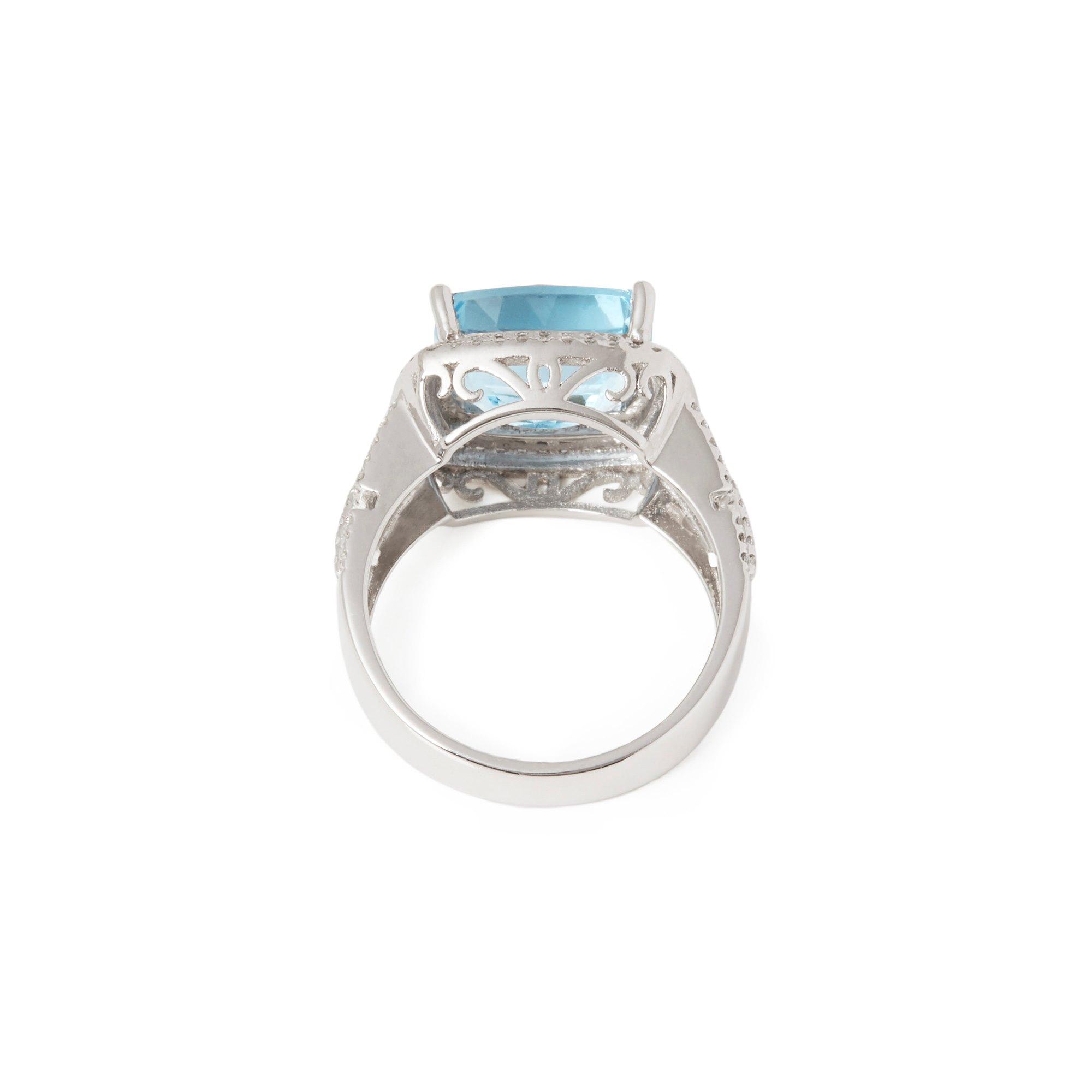 David Jerome Certified 4.81ct Brazilian Cushion cut Aquamarine and Diamond 18ct gold Ring