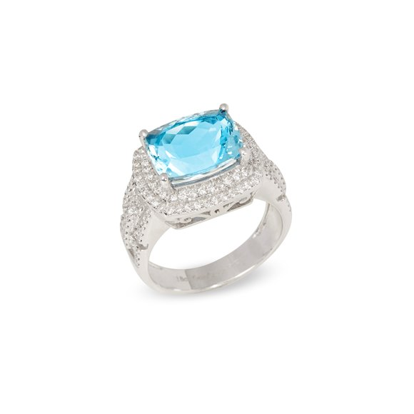 David Jerome Certified 4.81ct Brazilian Cushion cut Aquamarine and Diamond 18ct gold Ring