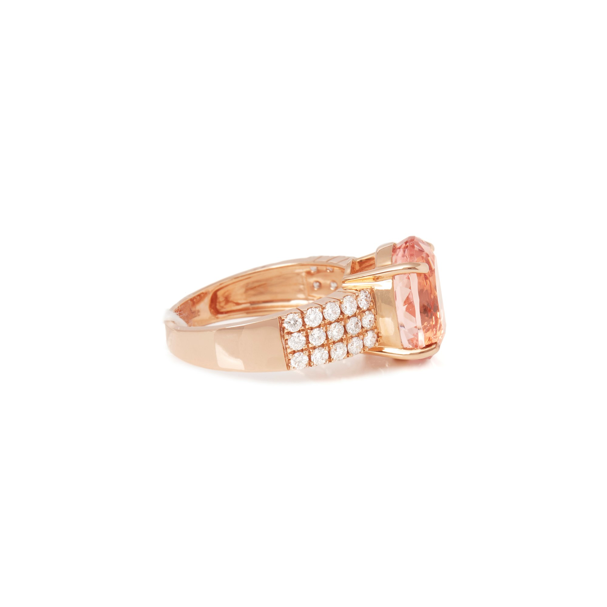 David Jerome Certified 5.46ct Untreated Brazilian Oval Cut Morganite and Diamond 18ct gold Ring