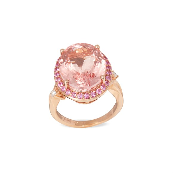 David Jerome Certified 12.51ct Untreated Brazilian Oval Cut Morganite, Pink Sapphire and Diamond 18ct gold Ring