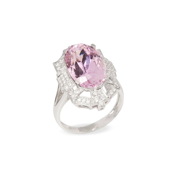 David Jerome Certified 9.91ct Untreated Oval Cut Kunzite and Diamond 18ct Gold Ring
