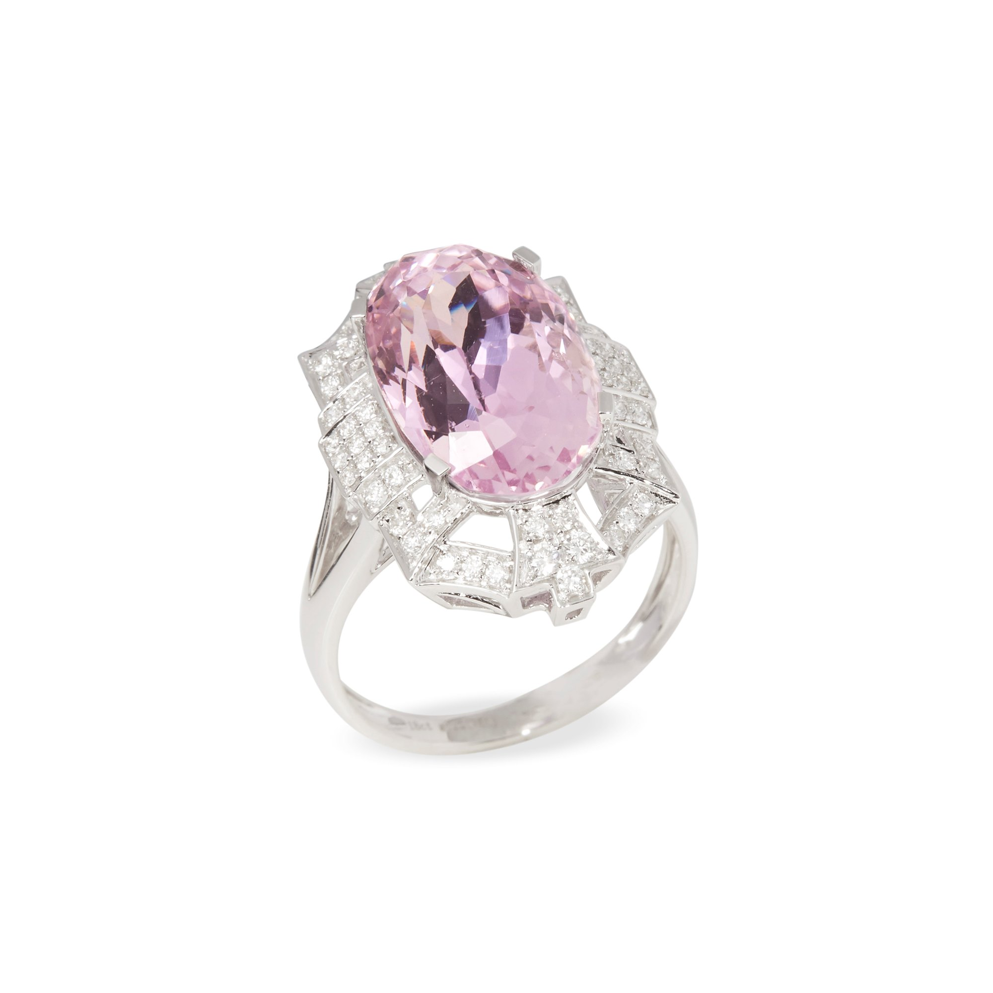 David Jerome Certified 9.91ct Untreated Oval Cut Kunzite and Diamond Ring