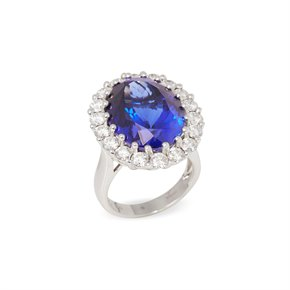 David Jerome Certified 19.98ct Tanzanite and Diamond 18ct gold Ring