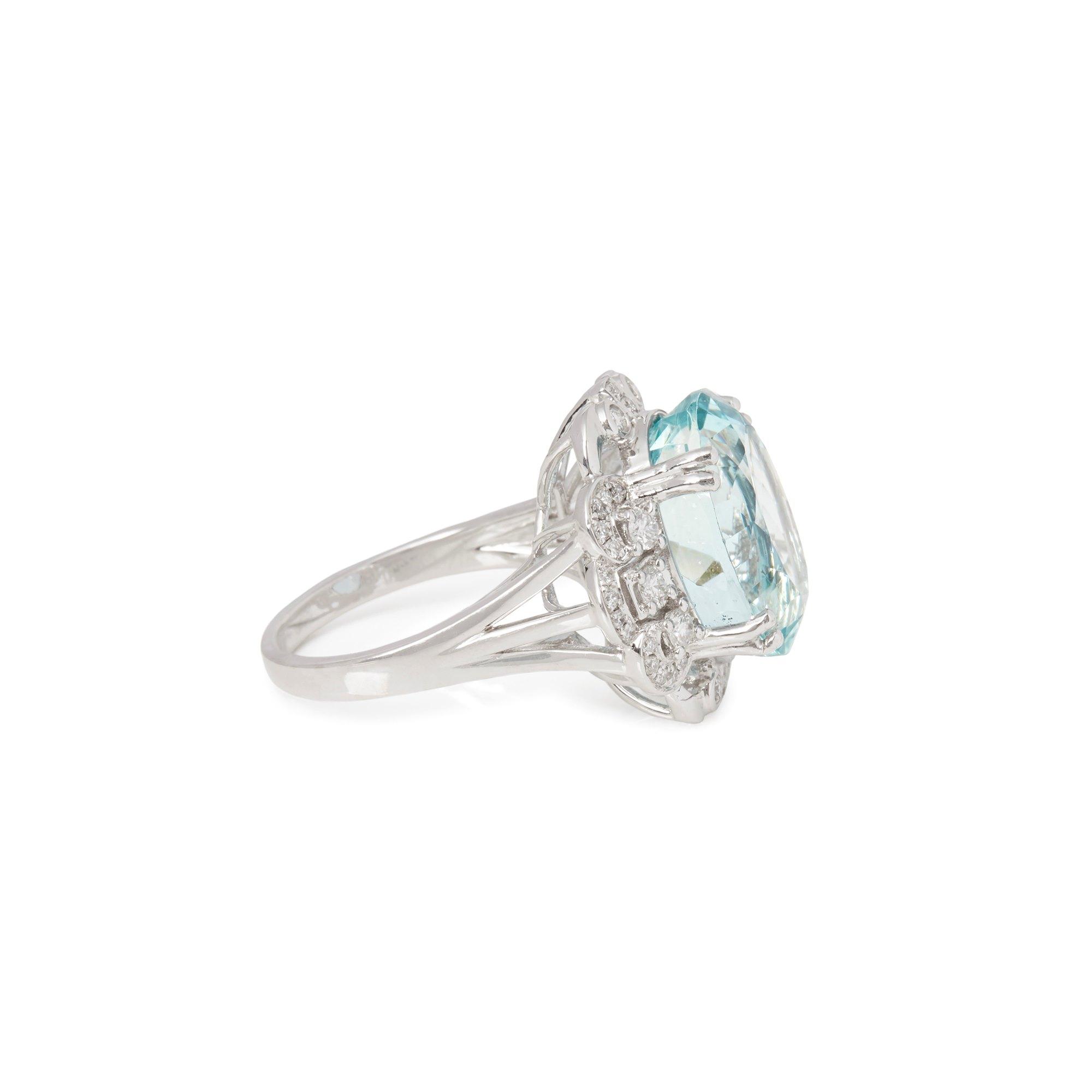 David Jerome Certified 12.93ct Unheated Brazilian Aquamarine and Diamond Platinum Ring