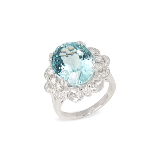 David Jerome Platinum Aquamrine and Diamond Ring