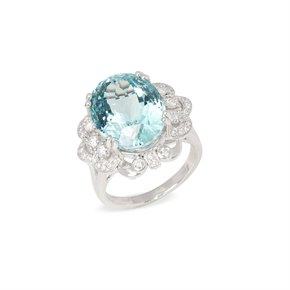 David Jerome Certified 12.93ct Unheated Brazilian Aquamarine and Diamond Platinum Ring