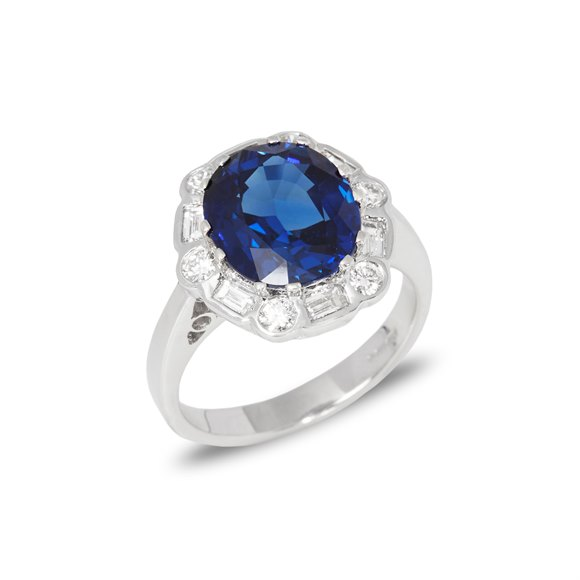 David Jerome Certified 5.21ct Unheated Burmese Sapphire and Diamond 18ct gold Ring