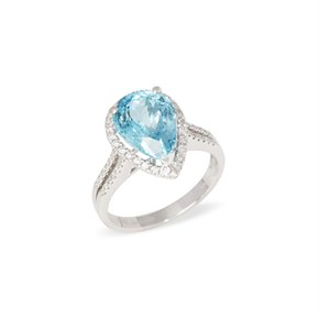 David Jerome Certified 3.95ct Brazilian Aquamarine and Diamond 18ct gold Ring