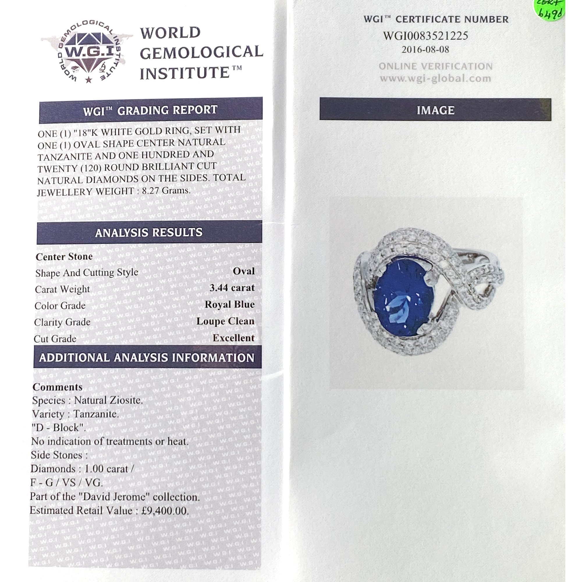 David Jerome Certified 3.44ct Tanzanite and Diamond 18ct gold Ring