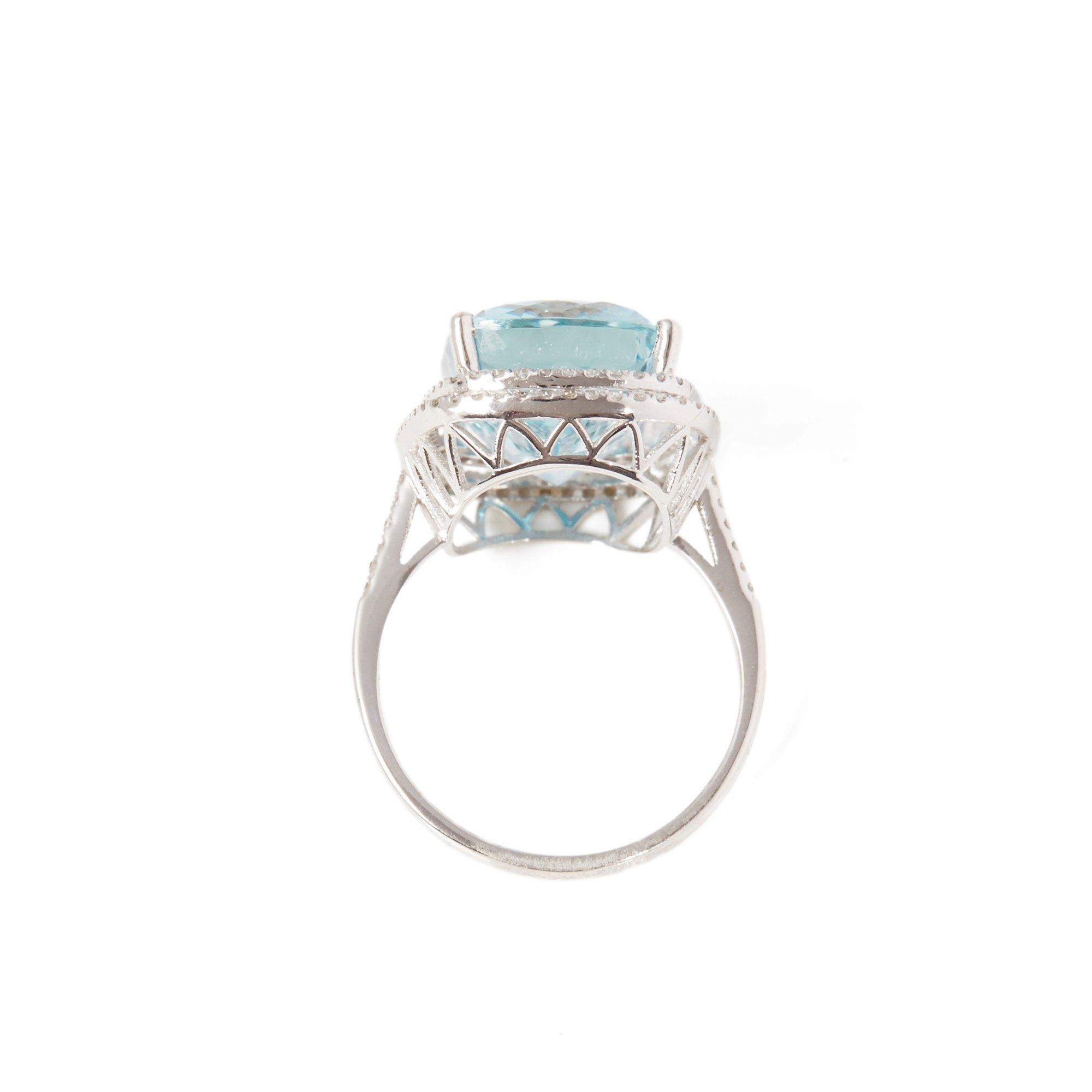 David Jerome Certified 10.96ct Brazilian Aquamarine and Diamond 18ct gold Ring