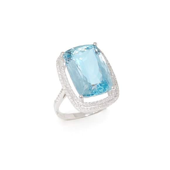 David Jerome Certified 10.96ct Brazilian Aquamarine and Diamond 18ct gold Ring
