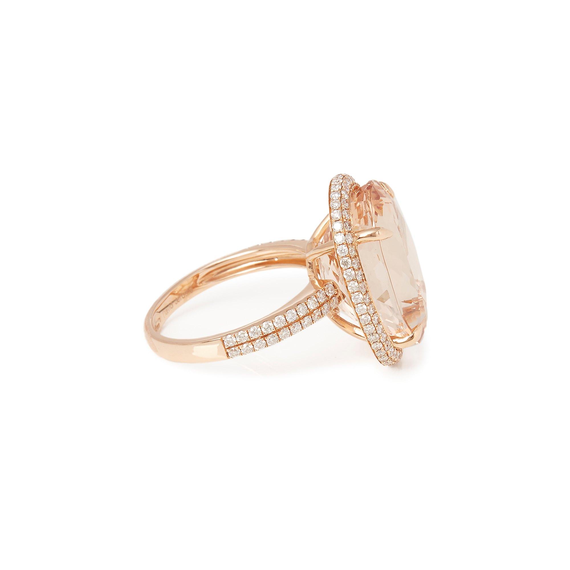 David Jerome Certified 14.31ct Brazilian Morganite and Diamond 18ct gold Ring