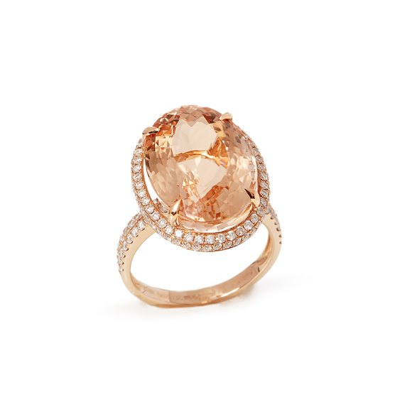 David Jerome Certified 14.31ct Brazilian Morganite and Diamond 18ct gold Ring