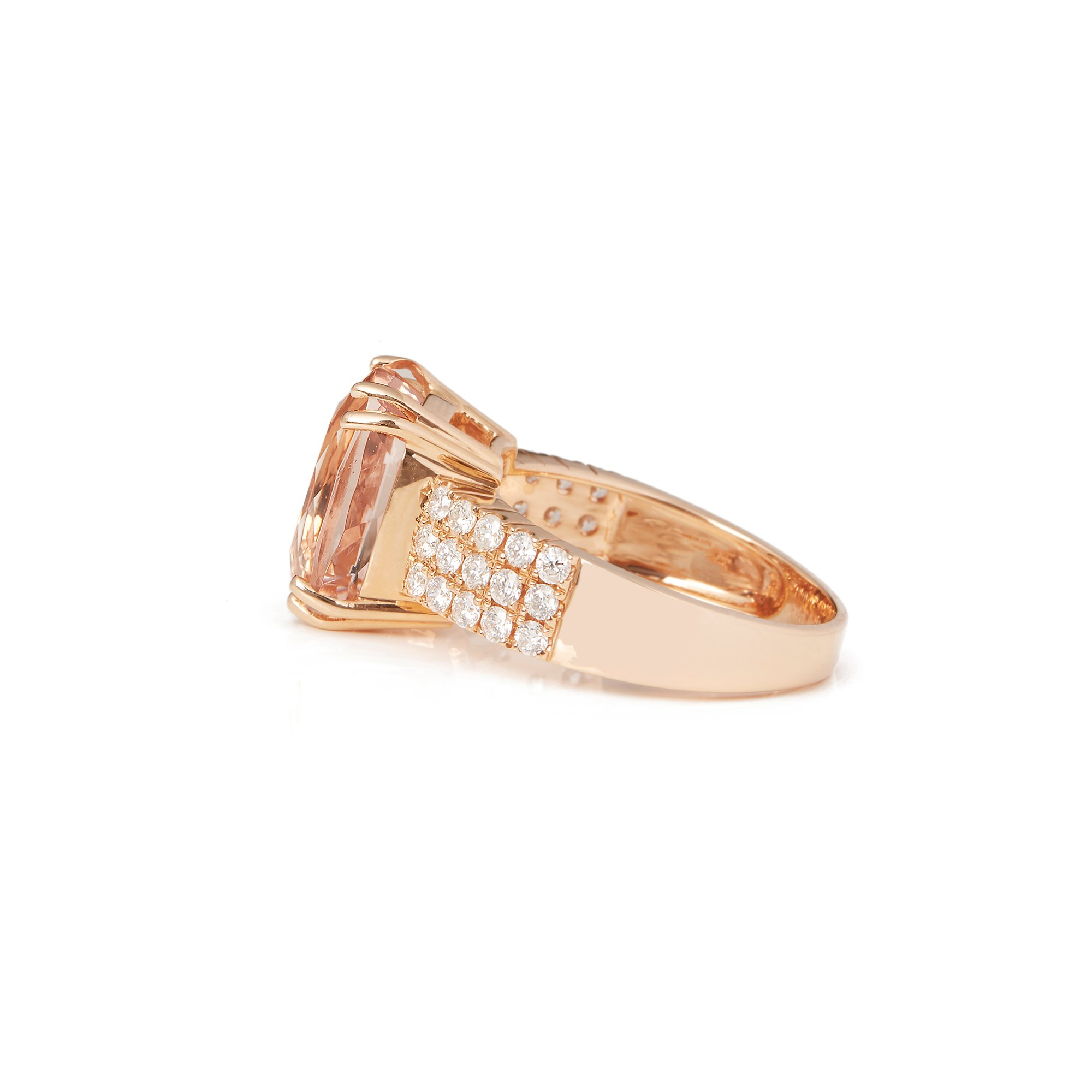 David Jerome 18k Rose Gold Morganite and Diamond Ring