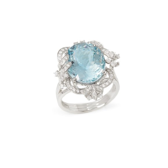 David Jerome Certified 7.98ct Brazilian Aquamarine and Diamond Platinum Ring