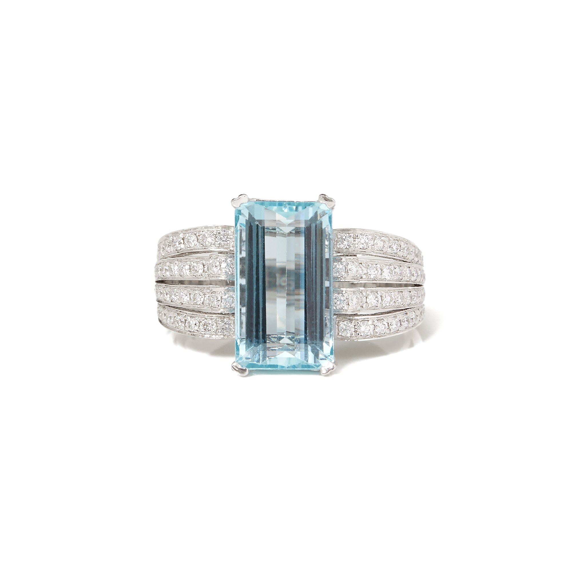 David Jerome Certified 4.58ct Emerald Cut Brazilian Aquamarine and Diamond Ring