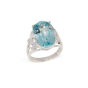 David Jerome Certified 12.53ct Oval Cut Aquamarine and Diamond 18ct gold Ring