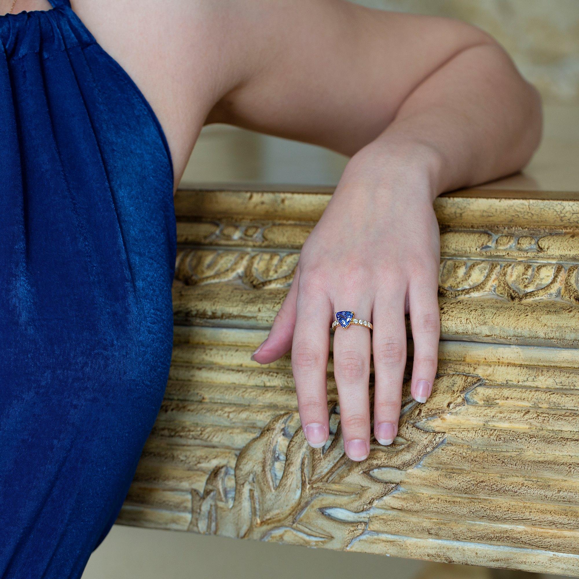 David Jerome 18k Yellow Gold Tanzanite and Diamond Ring