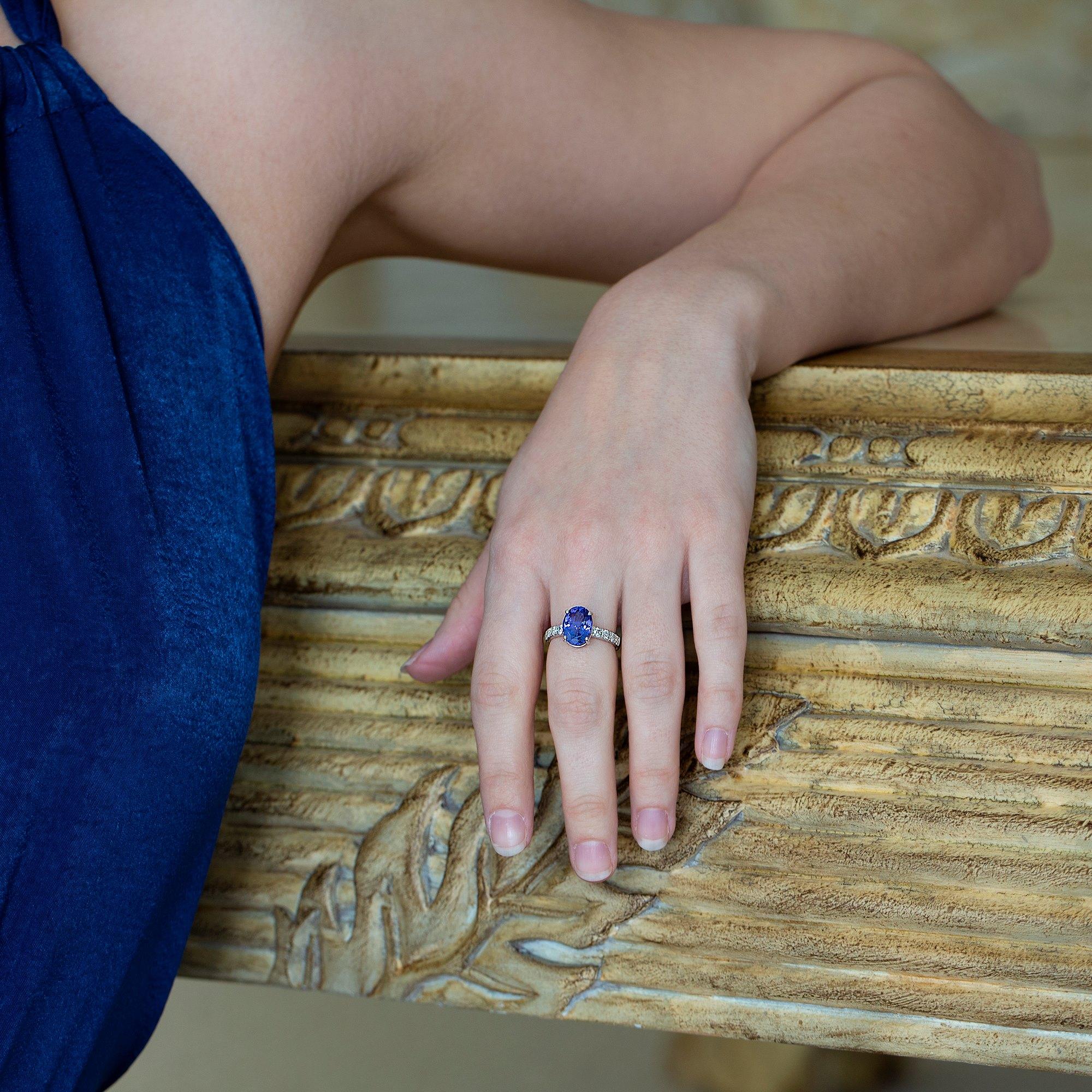 David Jerome 18k White gold Tanzanite and Diamond Ring