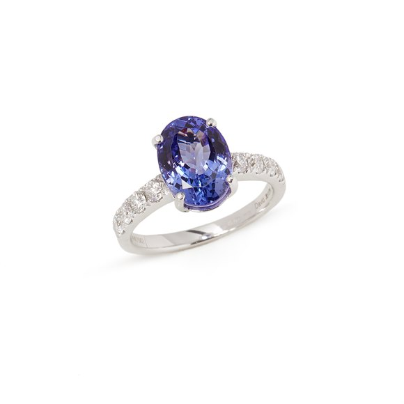 David Jerome Certified 4.33ct 18ct White gold Tanzanite and Diamond Ring