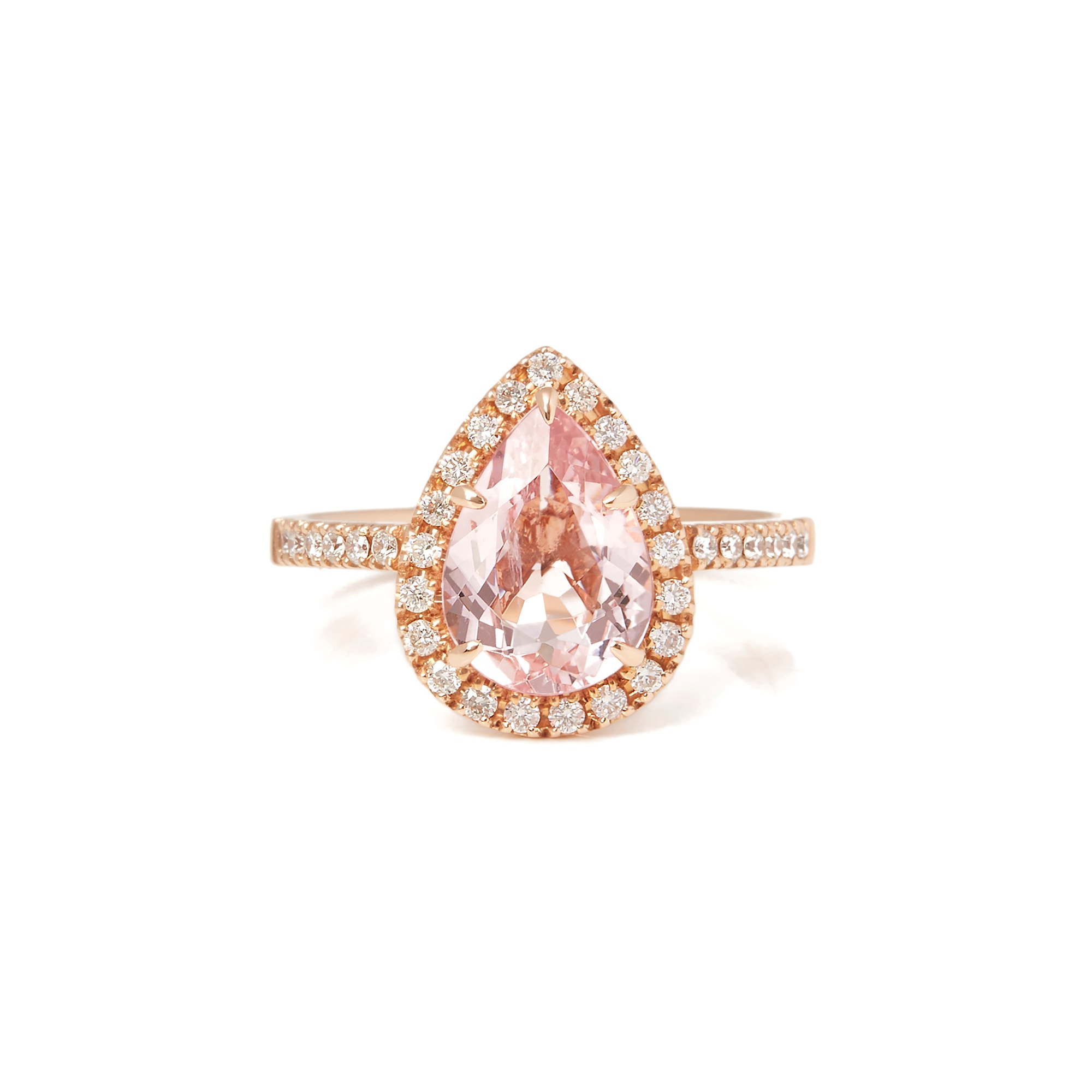 David Jerome Certified 1.84ct Pear Cut Morganite and Diamond 18ct gold Ring