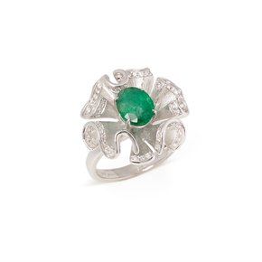 David Jerome Certified 1.69ct Oval cut Emerald and Diamond 18ct gold Ring
