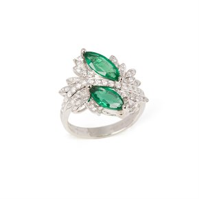David Jerome 18k White Gold Marquise Emerald and Diamond Ring