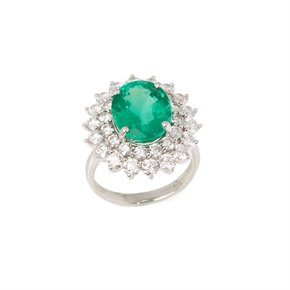 David Jerome Certified 6.42ct Untreated Oval cut Colombian Emerald and Diamond Platinum Ring