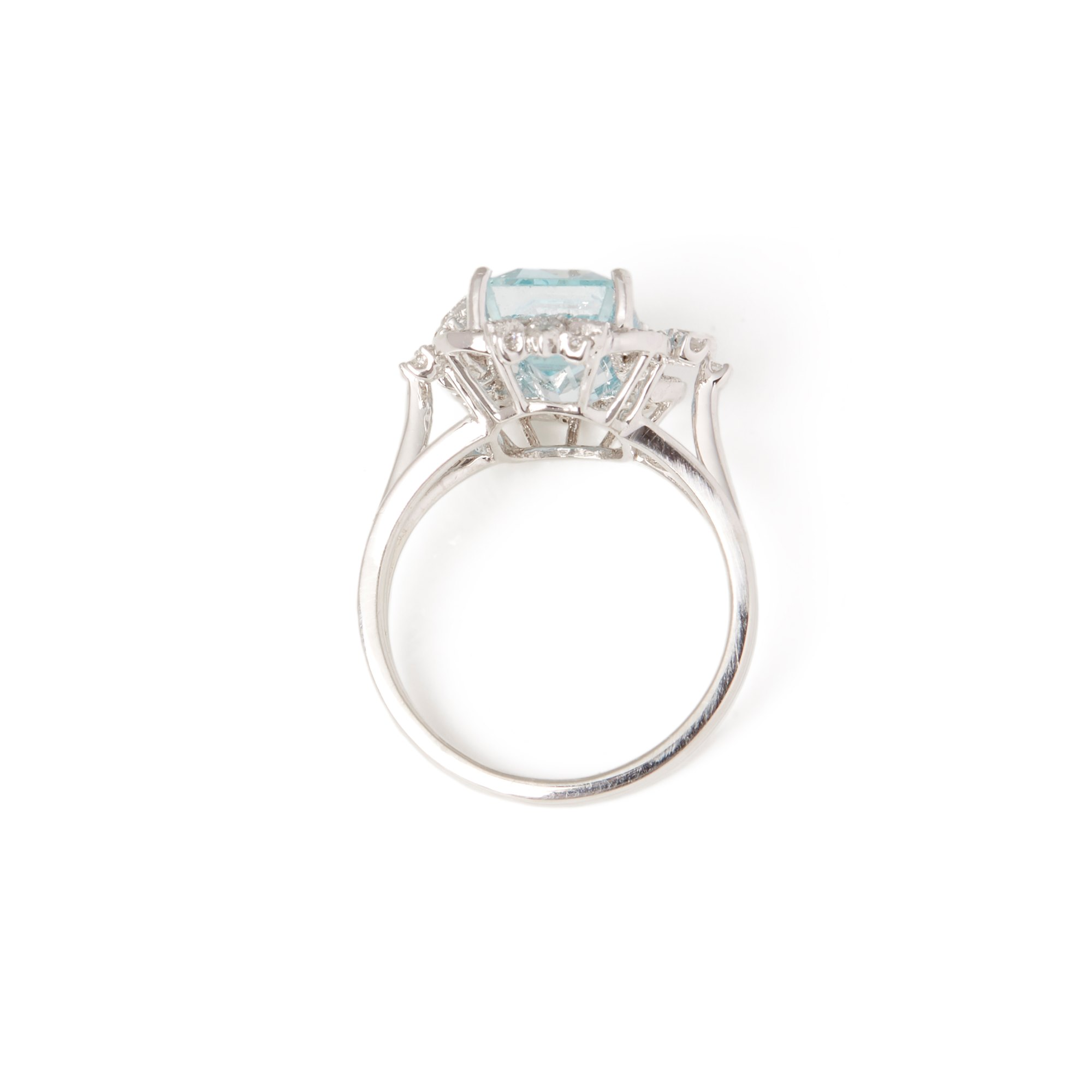 David Jerome Platinum Aquamarine and Diamond Ring