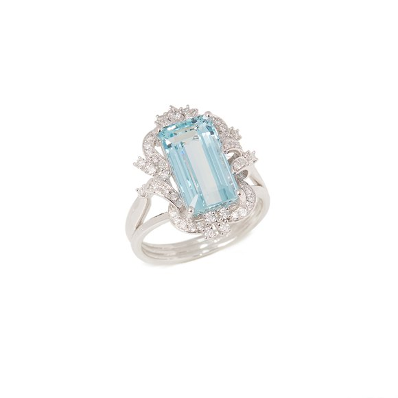 David Jerome Certified 4.9ct Emerald cut Aquamarine and Diamond Platinum Ring