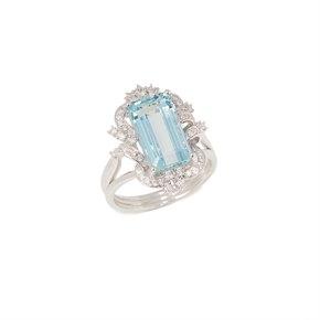David Jerome Certified 4.9ct Emerald cut Aquamarine and Diamond Platinum Ring