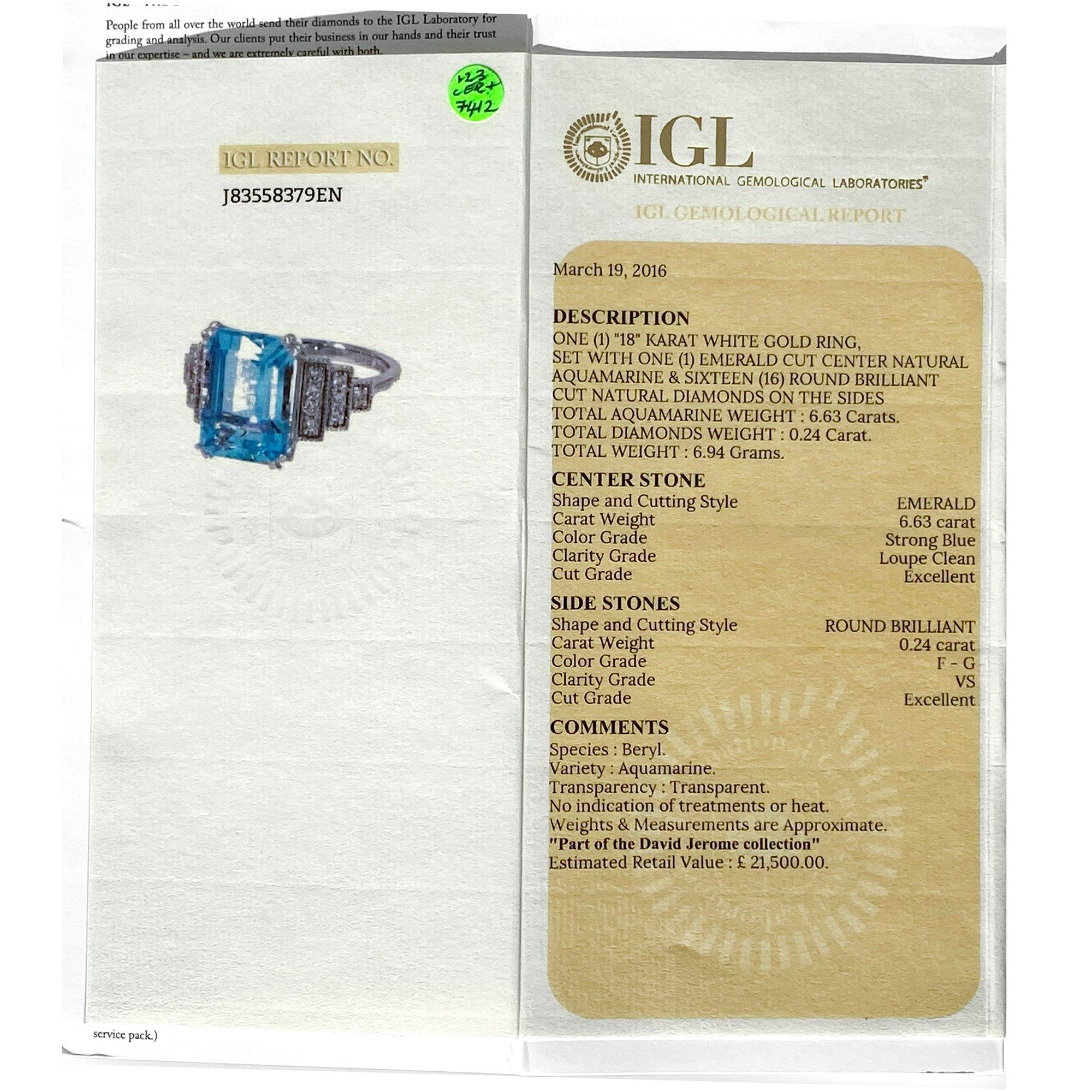 David Jerome Certified 6.63ct Emerald cut Aquamarine and Diamond 18ct gold Ring