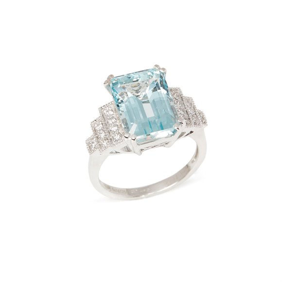 David Jerome Certified 6.63ct Emerald cut Aquamarine and Diamond 18ct gold Ring