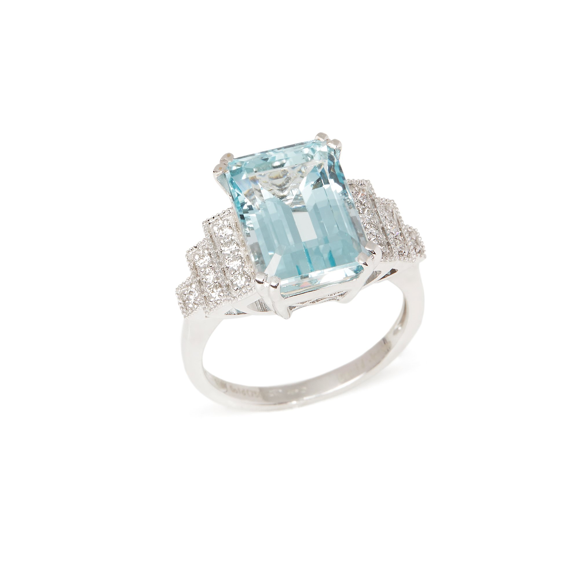 David Jerome 18k White Gold Aquamarine and Diamond Ring