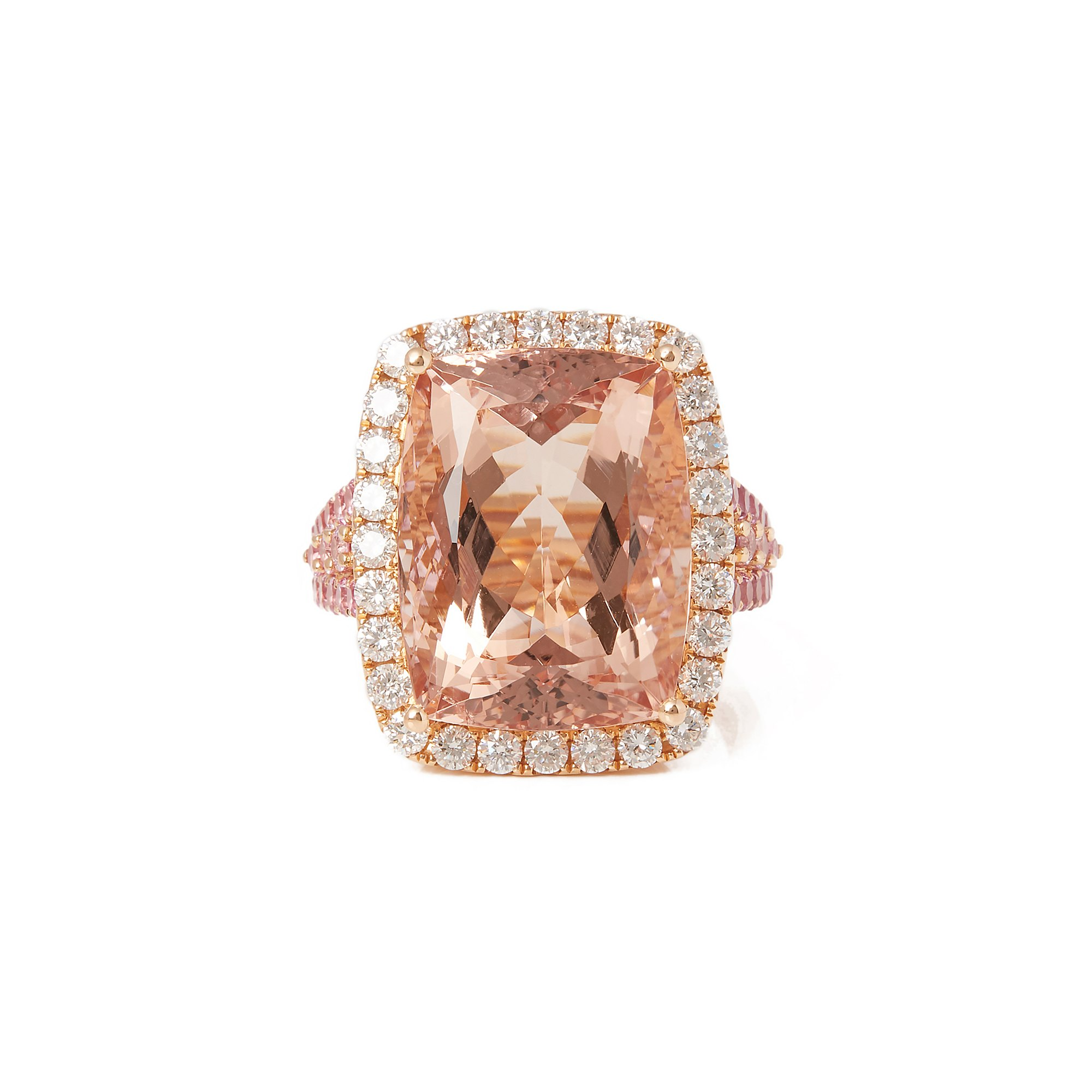 David Jerome 18ct Rose Gold Morganite and Pink Sapphire and Diamond Ring