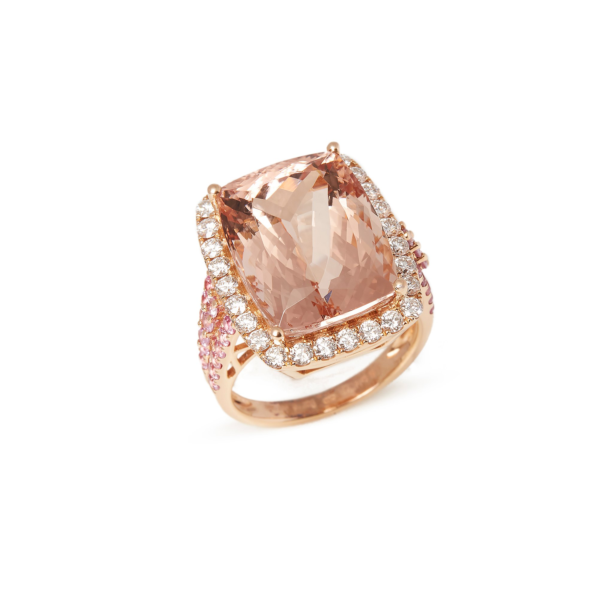 David Jerome Certified 14.99ct Cushion Cut Morganite, Pink Sapphire and Diamond 18ct gold Ring