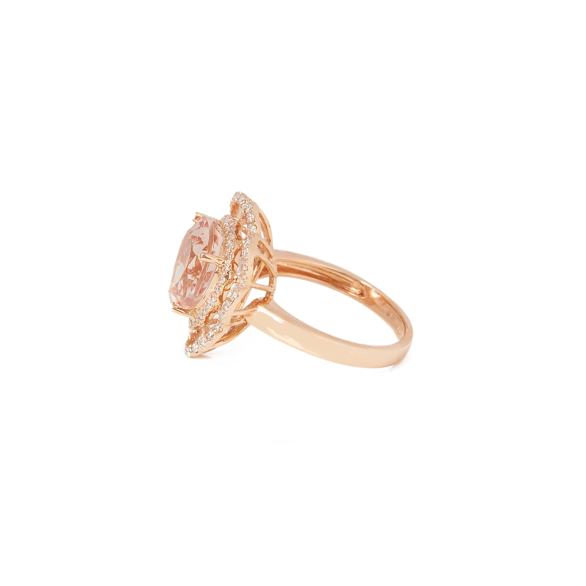 David Jerome 18k Rose Gold Morganite and Diamond Ring