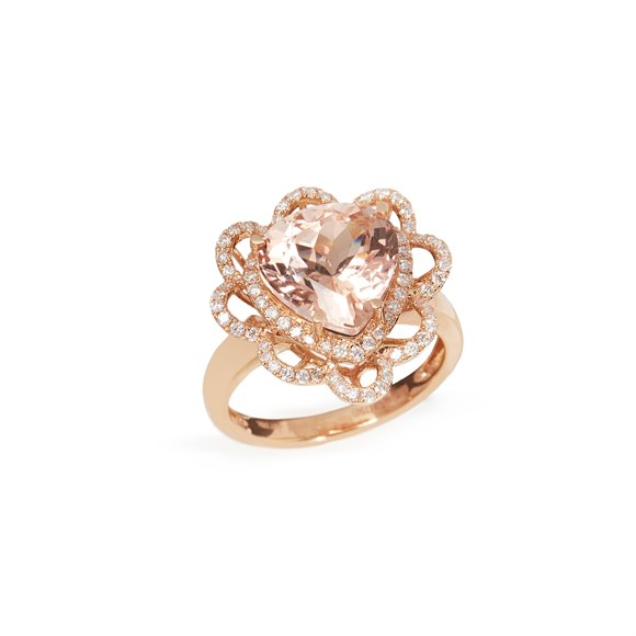 David Jerome Certified 4.88ct Trillion cut Morganite and Diamond 18ct gold Ring