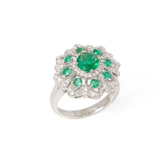David Jerome Platinum Emerald and Diamond Ring