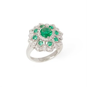 David Jerome Certified 1.32ct Round Cut Emerald and Diamond Platinum Ring