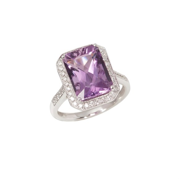 David Jerome Certified 6.32ct Amethyst and Diamond 18ct Gold Ring