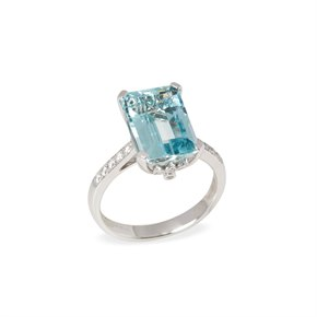 David Jerome Certified 5.61ct Emerald Cut Brazilian Aquamarine and Diamond 18ct Gold Ring