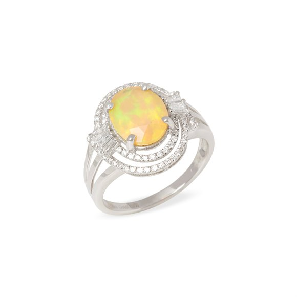 David Jerome 18k White Gold Opal and Diamond Ring